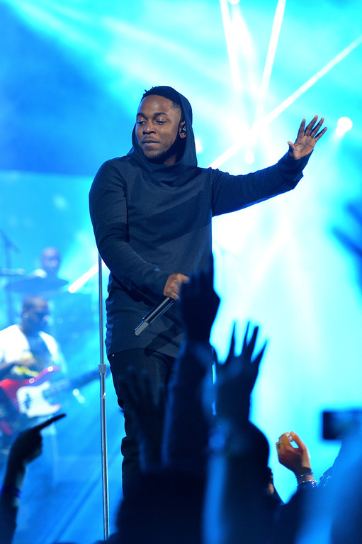 . NEW ORLEANS, LA - FEBRUARY 15:  Musician Kendrick Lamar performs onstage at the State Farm All-Star Saturday Night during the NBA All-Star Weekend 2014 at The Smoothie King Center on February 15, 2014 in New Orleans, Louisiana.  (Photo by Mike Coppola/Getty Images)