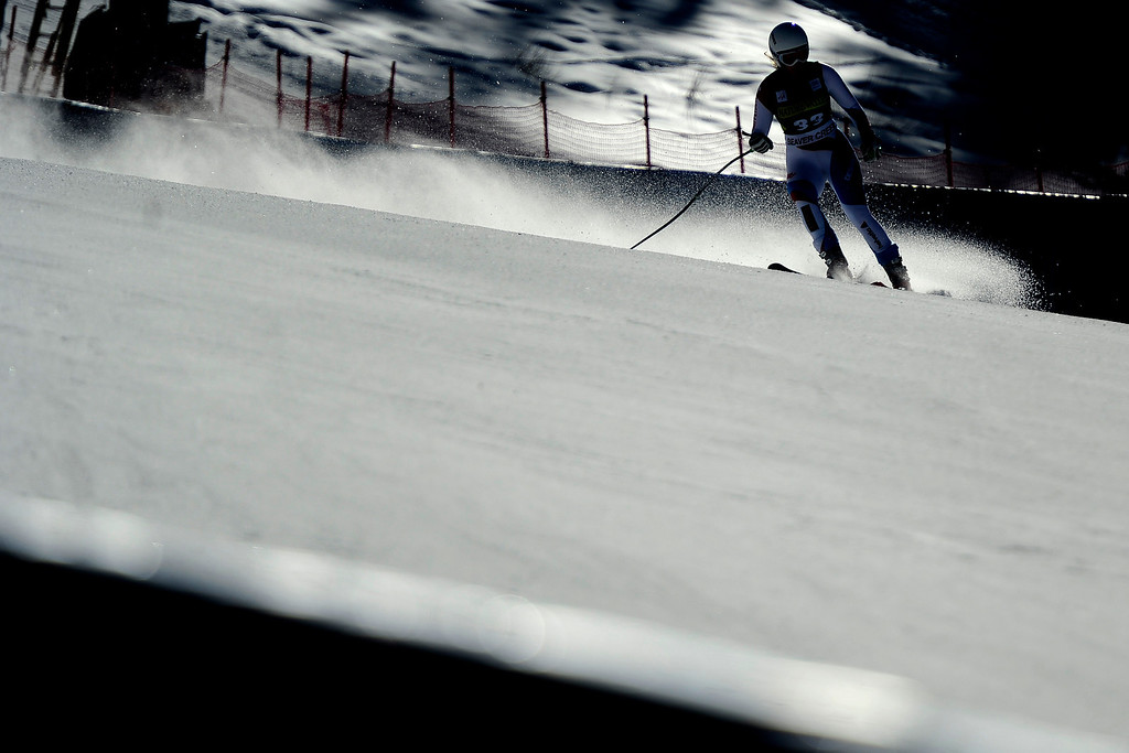 . Switzerland\'s Andrea Dettling skis the hill during practice.(Photo by AAron Ontiveroz/The Denver Post)