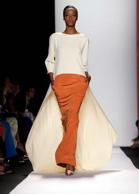 . The Carolina Herrera Spring 2014 collection is modeled during Fashion Week in New York,  Monday, Sept. 9, 2013. (AP Photo/Richard Drew)
