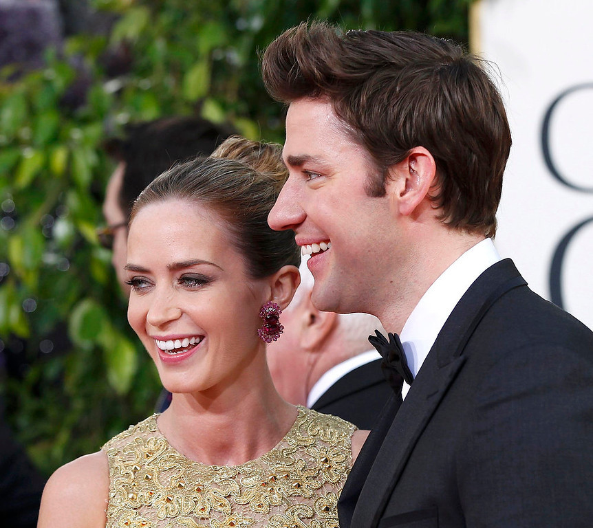 ". Actress Emily Blunt, from the film ""Salmon Fishing in the Yemen,\"" and her husband, actor John Krasinski, from the television series \""The Office,\"" arrive at the 70th annual Golden Globe Awards in Beverly Hills, California January 13, 2013.  REUTERS/Mario Anzuoni"