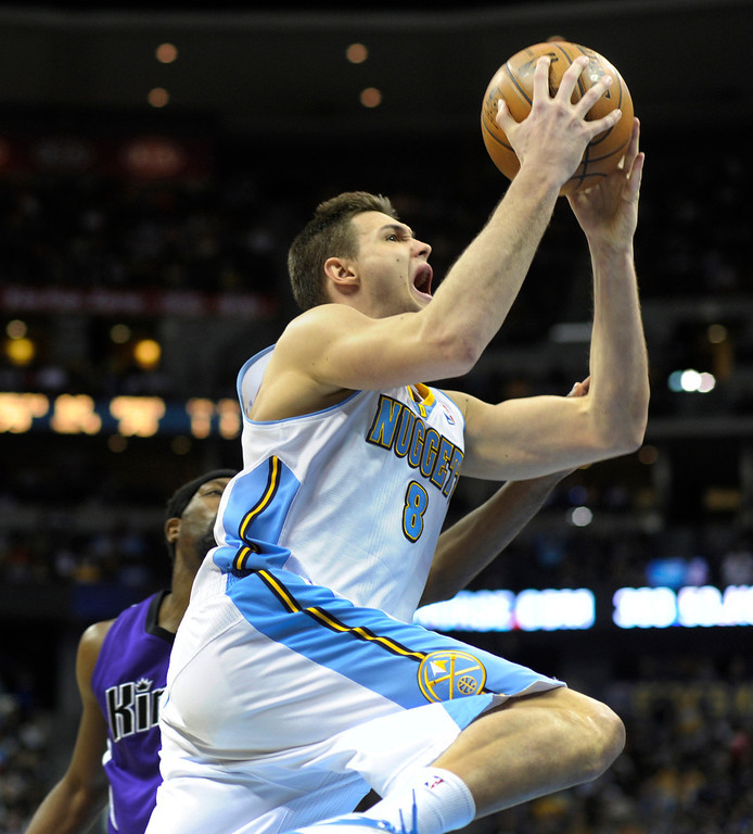 . DENVER, CO. - MARCH 22: Danilo Gallinari (8) of the Denver Nuggets drove to the basket in the second half. The Denver Nuggets defeated the Sacramento Kings 101-95 Saturday night, March 23, 2013 at the Pepsi Center. The Nuggets extended its longest winning streak since joining the NBA to 15 games with the win over the Kings. (Photo By Karl Gehring/The Denver Post)