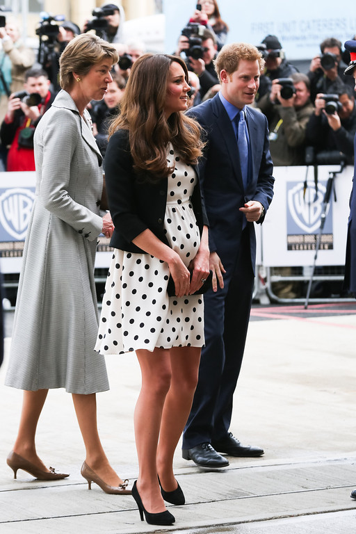 . Catherine, Duchess of Cambridge and Prince Harry arrive at the Inauguration Of Warner Bros. Studios Leavesden on April 26, 2013 in London, England.  (Photo by Paul Rogers - WPA Pool/Getty Images)