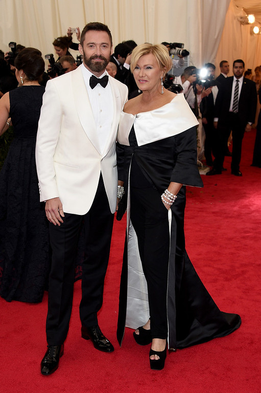 """. Hugh Jackman and Deborra-Lee Furness attend the \""""Charles James: Beyond Fashion\"""" Costume Institute Gala at the Metropolitan Museum of Art on May 5, 2014 in New York City.  (Photo by Larry Busacca/Getty Images)"""