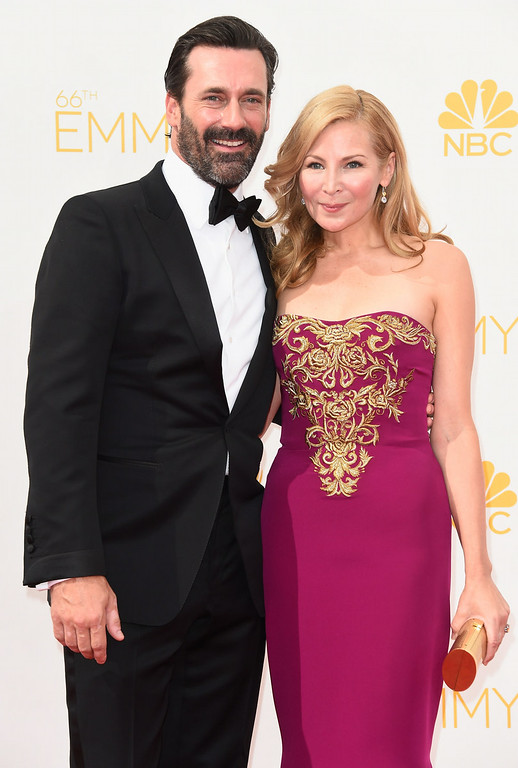 . Actors Jon Hamm (L) and Jennifer Westfeldt attend the 66th Annual Primetime Emmy Awards held at Nokia Theatre L.A. Live on August 25, 2014 in Los Angeles, California.  (Photo by Frazer Harrison/Getty Images)