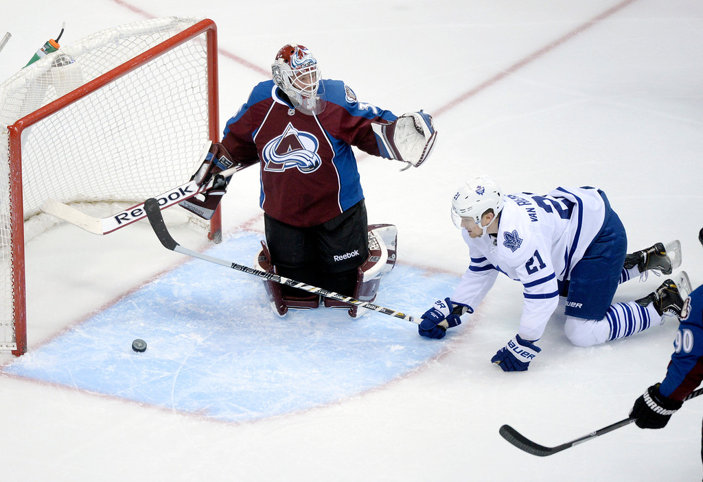 . DENVER, CO. - JANUARY 21:  Avs goalie Jean-Sebastien Giguere questioned why Toronto\'s fourth goal was allowed when James van Riemsdyk was hanging on the Colorado goalie in the crease in the second period. The Colorado Avalanche hosted the Toronto Maple Leafs Tuesday night, January 21, 2014 at the Pepsi Center. Photo By Karl Gehring/The Denver Post