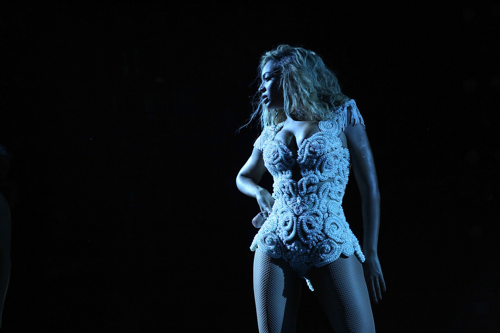 """. Singer Beyonce performs on her \""""Mrs. Carter Show World Tour 2013,\"""" on Sunday, September 8, 2013 at the Arena Castelao in Fortaleza, Brazil. (Photo by Robin Harper/Invision for Parkwood Entertainment/AP Images)"""