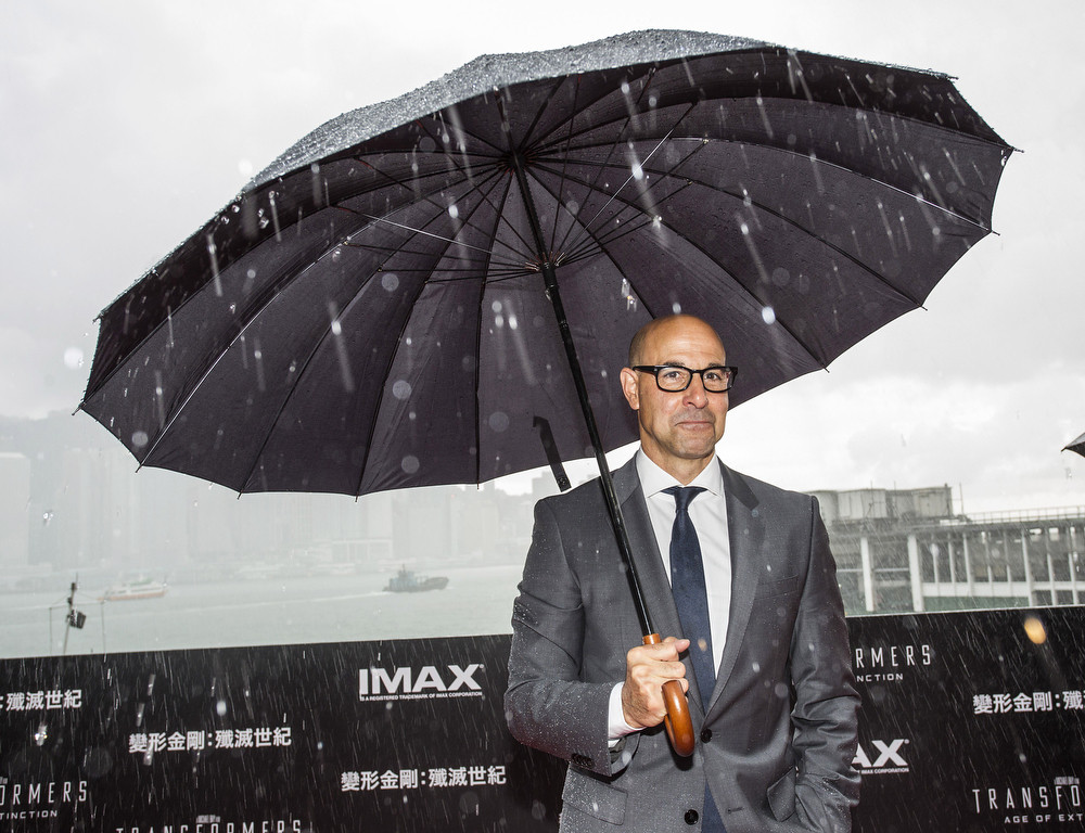 ". Stanley Tucci arrives at the worldwide premiere screening of ""Transformers: Age of Extinction\""at the  on June 19, 2014 in Hong Kong. (Photo by Jerome Favre/Getty Images for Paramount)"