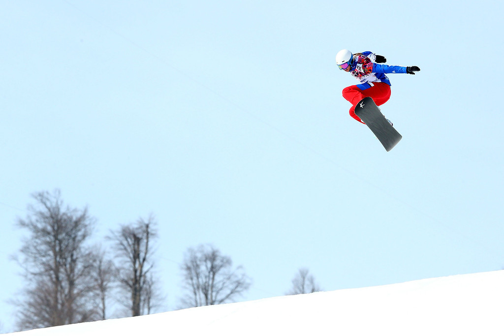 . Deborah Anthonioz of France competes during the Ladies\' Snowboard Cross Seeding on day nine of the Sochi 2014 Winter Olympics at Rosa Khutor Extreme Park on February 16, 2014 in Sochi, Russia.  (Photo by Cameron Spencer/Getty Images)