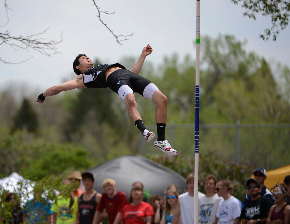 . LAKEWOOD, CO - MAY 18:  Jacob West, Pueblo West High School, on his landing after clearing the bar  during the boys 4A pole vault competition at the Colorado State Track and Field Championships at Jeffco Stadium, Saturday morning, May 18, 2013.  (Photo By Andy Cross/The Denver Post)