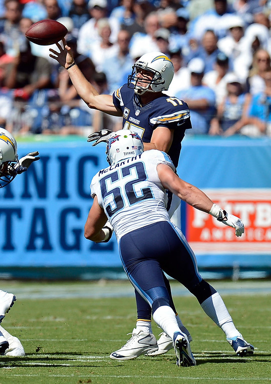 . San Diego Chargers quarterback Philip Rivers (17) throws under pressure by Tennessee Titans linebacker Colin McCarthy (52) in the first quarter of an NFL football game on Sunday, Sept. 22, 2013, in Nashville, Tenn. (AP Photo/Mark Zaleski)