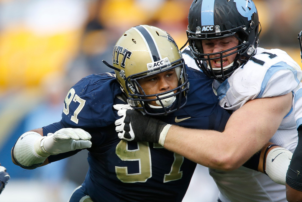 . In this Nov. 16, 2013, file photo, Pittsburgh defensive lineman Aaron Donald (97) in action in an NCAA football game between Pittsburgh and North Carolina in Pittsburgh. Donald was the 13th pick overall in the first round of the 2014 NFL Draft (AP Photo/Keith Srakocic, File)
