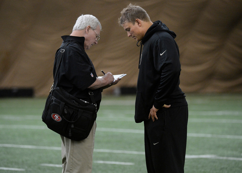 . BOULDER, CO. - MARCH 13: An NFL scout from the San Francisco 49ers, left, talks with Will Pericak after pro days, March, 13, 2013. NFL scouts watch players preform drills at the University of Colorado in Boulder. (Photo By RJ Sangosti/The Denver Post)
