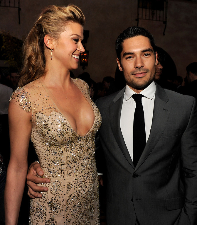 ". Actress Adrianne Palicki (L) and actor D.J. Cotrona pose at the after party for the premiere of Paramount Pictures\' ""G.I. Joe: Retaliation\"" at the Roosevelt Hotel on March 28, 2013 in Los Angeles, California.  (Photo by Kevin Winter/Getty Images)"