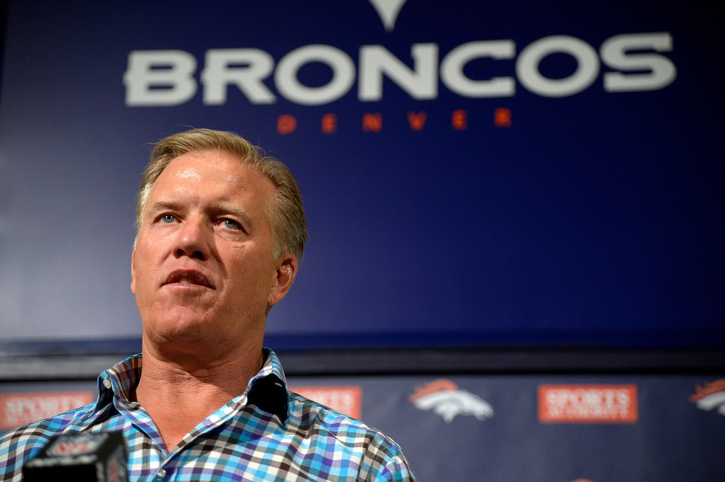 . Denver Broncos General Manager and Executive Vice President of Football Operations John Elway discusses the draft May 5, 2014 at Dove Valley in Englewood, Colorado.  (Photo by John Leyba/The Denver Post)