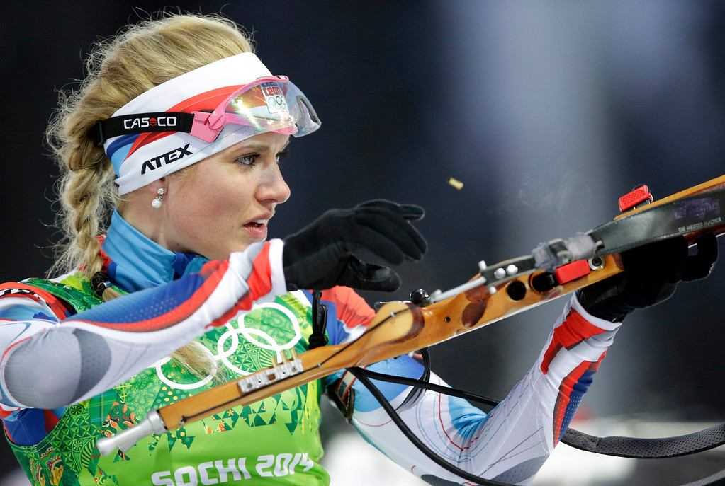 . Czech Republic\'s Gabriela Soukalova shoots during the mixed biathlon relay at the 2014 Winter Olympics, Wednesday, Feb. 19, 2014, in Krasnaya Polyana, Russia. (AP Photo/Lee Jin-man)