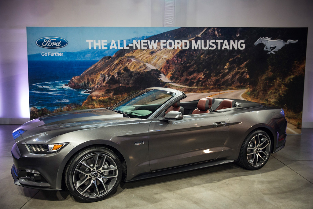 . The new 2015 Ford Mustang is revealed on December 5, 2013 in New York City. The 2015 model marks the 50th anniversary of the Ford Mustang line.  (Photo by Andrew Burton/Getty Images)