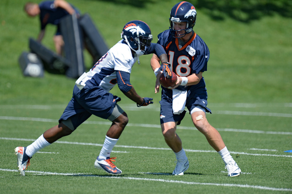 . Peyton Manning (18) quarterback of the Denver Broncos hands off to Ronnie Hillman (21) during mini camp June 11, 2013 at Dove Valley. (Photo By John Leyba/The Denver Post)