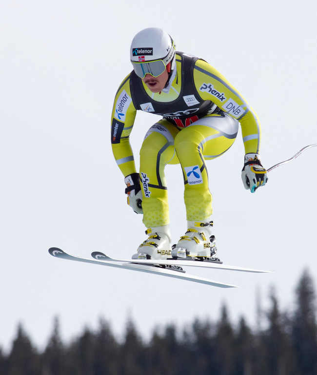 . Kjetil Jansrud of Norway, speeds down the course during the men\'s World Cup downhill ski race in Beaver Creek, Colo., on Friday, Nov. 30, 2012. Jansrud placed third in the race. (AP Photo/Nathan Bilow)