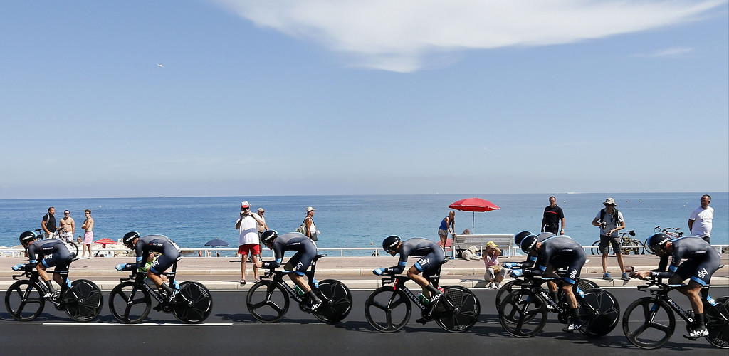 . Riders of Sky team compete during the 25 km team time-trial and fourth stage of the 100th edition of the Tour de France cycling race on July 2, 2013 around Nice, southeastern France.    JEFF PACHOUD/AFP/Getty Images