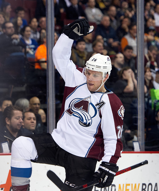 . Paul Stastny #26 of the Colorado Avalanche celebrates after scoring a goal against the Vancouver Canucks during the first period in NHL action on April 10, 2014 at Rogers Arena in Vancouver, British Columbia, Canada.  (Photo by Rich Lam/Getty Images)