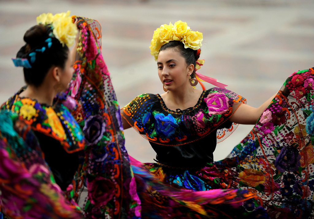 . Maggie Hidalgo, age 15, performed with other members from the Lisa Trujillo Dance Academy Thursday night. Denver celebrated Mexico Night in Civic Center Park Thursday night, July 18, 2013.   Photo By Karl Gehring/The Denver Post