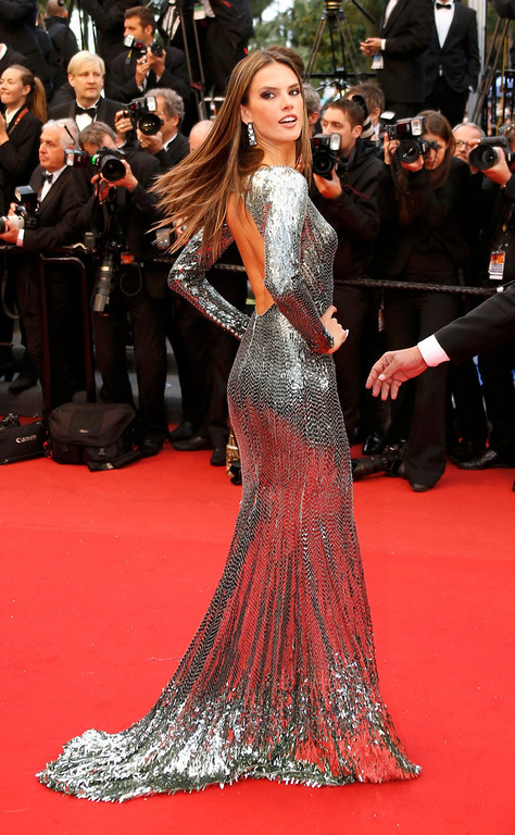 ". Model Alessandra Ambrosio poses on the red carpet as she arrives for the screening of the film ""All is Lost\"" during the  the 66th Cannes Film Festival in Cannes May 22, 2013.                            REUTERS/Yves Herman"