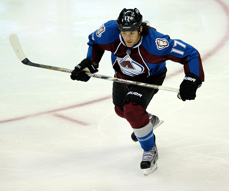 . DENVER, CO. - OCTOBER 02: Avalanche wing Steve Downie skated in the second period. The Colorado Avalanche hosted the Anaheim Ducks at the Pepsi Center Wednesday night, October 2, 2013. Photo By Karl Gehring/The Denver Post