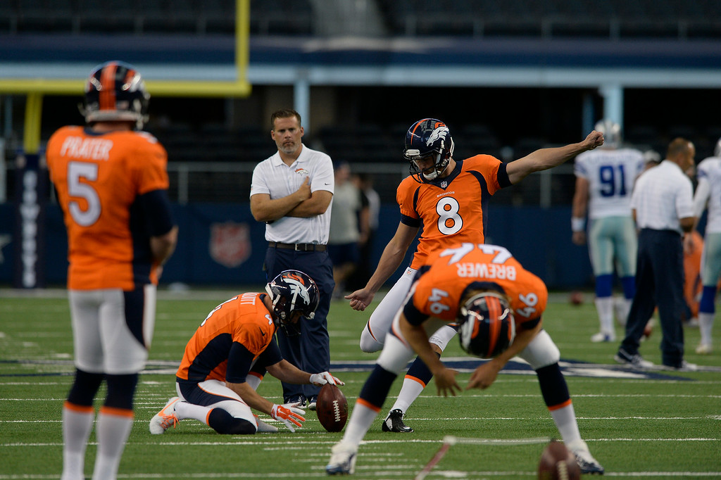 . ARLINGTON, TX - AUGUST 28: Denver Broncos K Brandon McManus (8) warms up before their game agains the Dallas Cowboys August 28, 2014 at AT&T Stadium.  (Photo by John Leyba/The Denver Post)