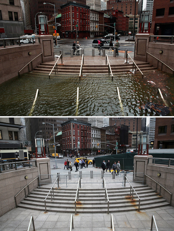 . NEW YORK, NY - OCTOBER 30: (top) Water floods the Plaza Shops in the wake of Hurricane Sandy, on October 30, 2012 in New York City. (Photo by Allison Joyce/Getty Images)  NEW YORK, NY - OCTOBER 22:  (bottom) The entrance to the underground Plaza Shops remains closed due to unfinished renovations almost a hear after being flooded by Hurricane Sandy October 22, 2013 in New York City. Hurricane Sandy made landfall on October 29, 2012 near Brigantine, New Jersey and affected 24 states from Florida to Maine and cost the country an estimated $65 billion.  (Photo by John Moore/Getty Images)