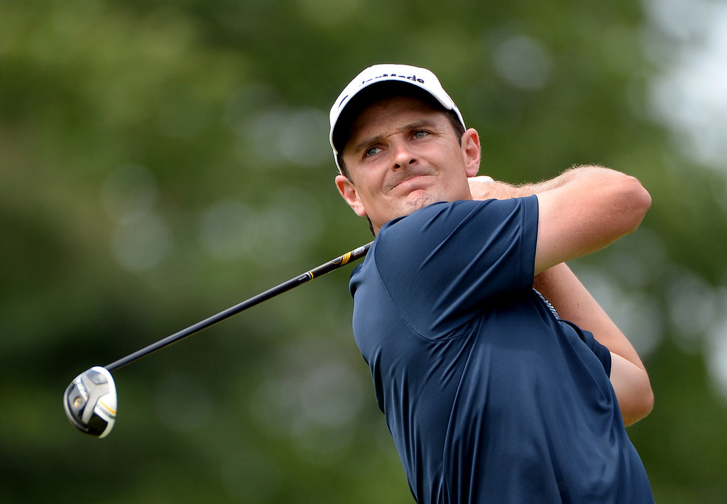 . ARDMORE, PA - JUNE 16:  Justin Rose of England hits his tee shot on the third hole during the final round of the 113th U.S. Open at Merion Golf Club on June 16, 2013 in Ardmore, Pennsylvania.  (Photo by Ross Kinnaird/Getty Images)