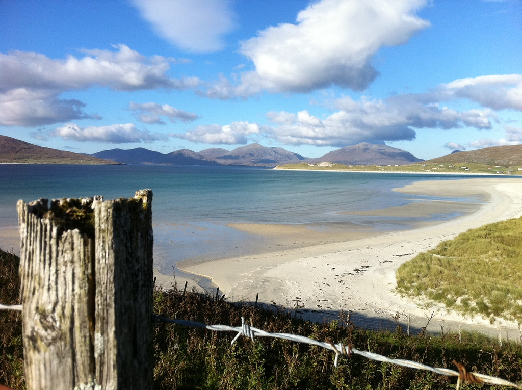 . This October 2013 photo shows the startling white-sand beaches on the west coast of the Outer Hebrides in Scotland. The beaches are an easy draw for travelers, though getting into the cold water above your ankles in cooler weather takes some courage _ and a squeal. (AP Photo/Cara Anna)