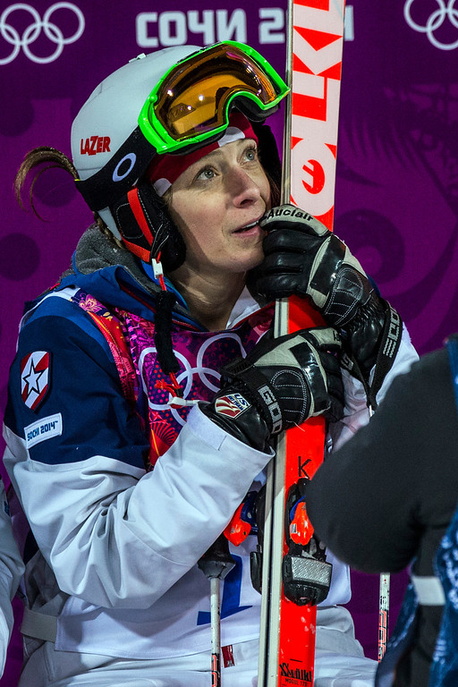 . KRASNAYA POLYANA, RUSSIA  - JANUARY 8: Hannah Kearney, of USA, waits to see her score in the Ladies\' Moguls Finals at Rosa Khutor Extreme Park during the 2014 Sochi Olympic Games Saturday February 8, 2014. Justine Dufour-Lapointe won gold with a score of 22.44. Her sister Chloe Dufour-Lapointe won the silver with a score of 21.66. Hannah Kearney, of USA, won bronze with a score of 21.49. (Photo by Chris Detrick/The Salt Lake Tribune)