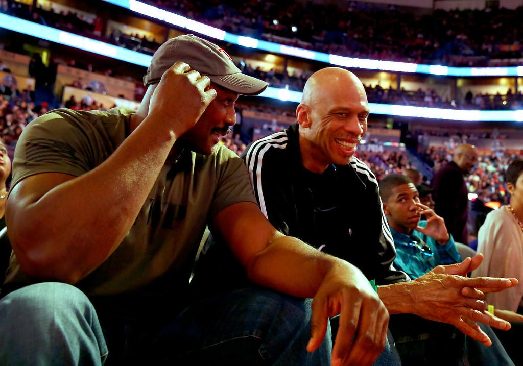 . Former NBA players Karl Malone (L) and Kareem Abdul-Jabbar (R) attend the NBA All-Star Saturday Night festivities in New Orleans, Louisiana, USA, 15 February 2014.  EPA/ERIK S. LESSER