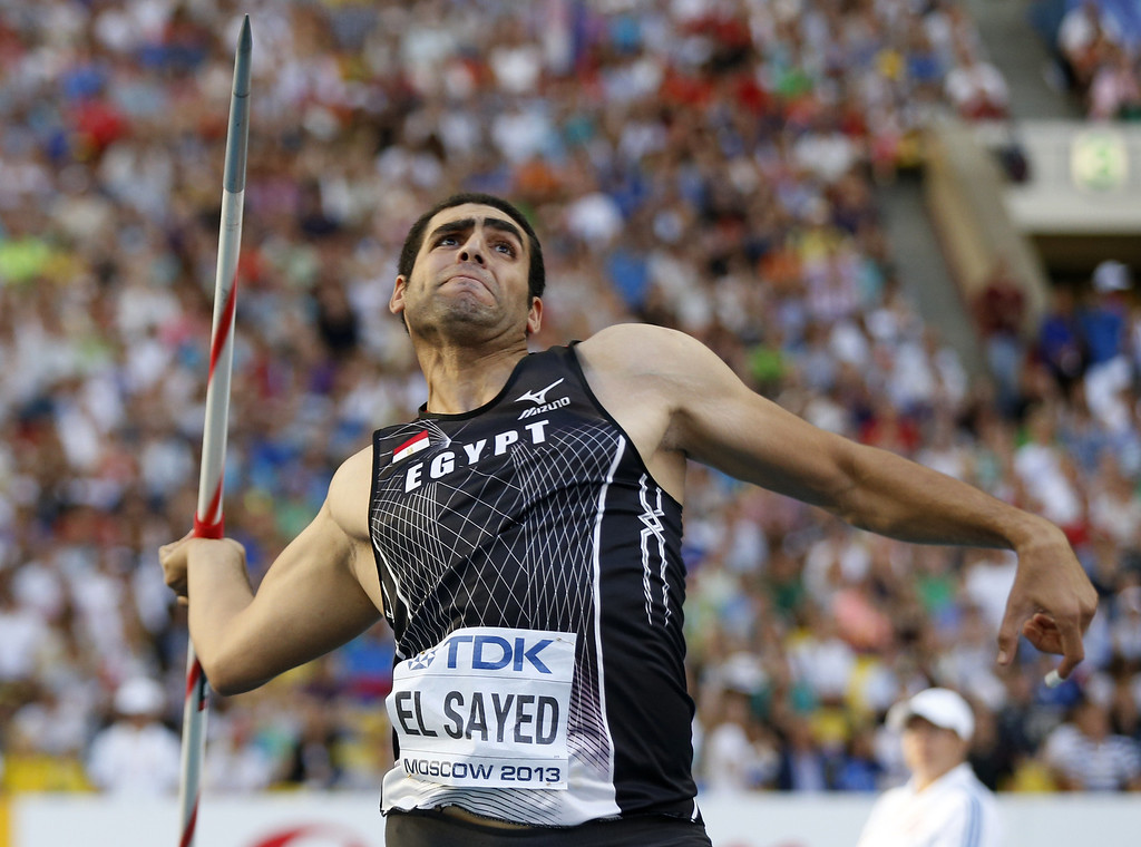 . Egypt\'s Ihab  Abdelrahman El Sayed competes in the men\'s javelin throw final at the 2013 IAAF World Championships at the Luzhniki stadium in Moscow on August 17, 2013.   FRANCK FIFE/AFP/Getty Images