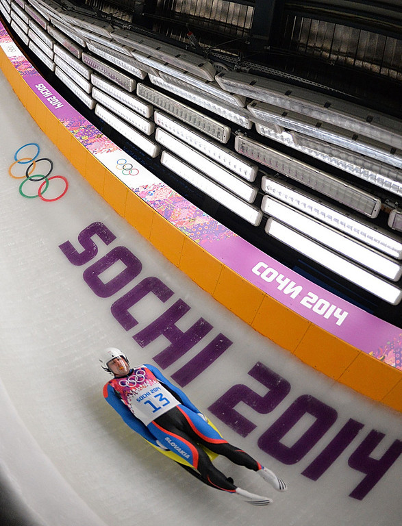 . Slovakia\'s Jozef Ninis competes in the Men\'s Luge Singles Run at the Sliding Center Sanki during the Sochi Winter Olympics on February 8, 2014. (LEON NEAL/AFP/Getty Images)