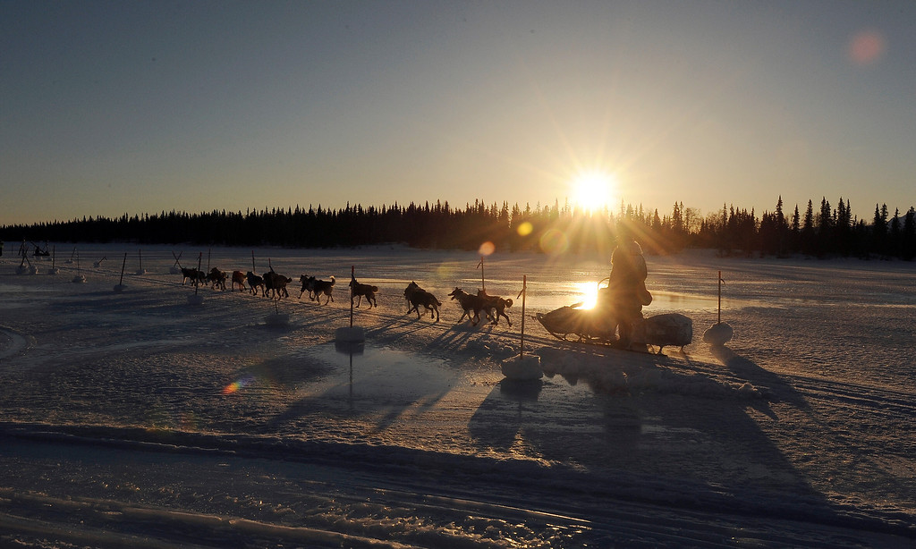 . Mike Santos drives his dog team into the Finger Lake checkpoint during the 2014 Iditarod Trail Sled Dog Race on Monday, March 3, 2014, near Wasilla, Alaska. (AP Photo/The Anchorage Daily News, Bob Hallinen)