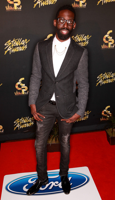 . NASHVILLE, TN - JANUARY 18:  Tye Tribbett arrives at the 2014 Stellar Awards at Nashville Municipal Auditorium on January 18, 2014 in Nashville, Tennessee.  (Photo by Royce DeGrie/Getty Images for UP Entertainment)