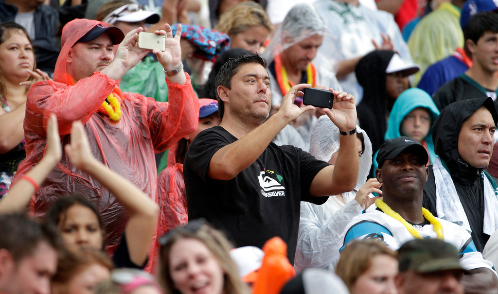 . Pro Bowl fans watch the first quarter of the NFL Pro Bowl football game between Team Sanders and Team Rice on Sunday, Jan. 26, 2014, in Honolulu. (AP Photo/Eugene Tanner)