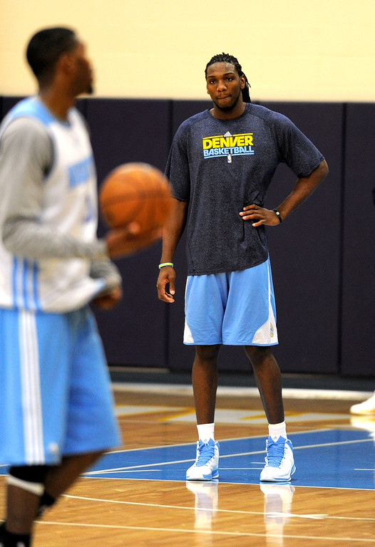 . Kenneth Faried (35) of the Denver Nuggets looks on during practice April 22, 2013 at Pepsi Center. The Denver Nuggets prepare for game two of the first round of the NBA playoffs against the Golden State Warriors. (Photo By John Leyba/The Denver Post)