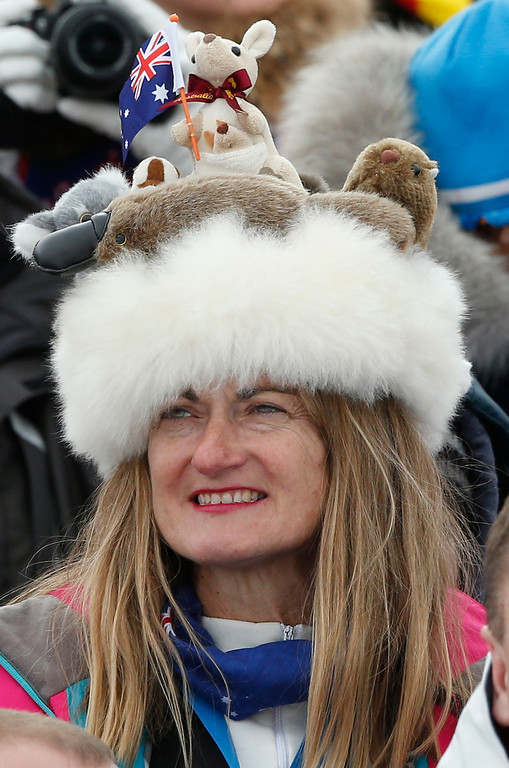 . An Australia supporter watches the men\'s cross-country 30k skiathlon at the 2014 Winter Olympics, Sunday, Feb. 9, 2014, in Krasnaya Polyana, Russia. (AP Photo/Matthias Schrader)