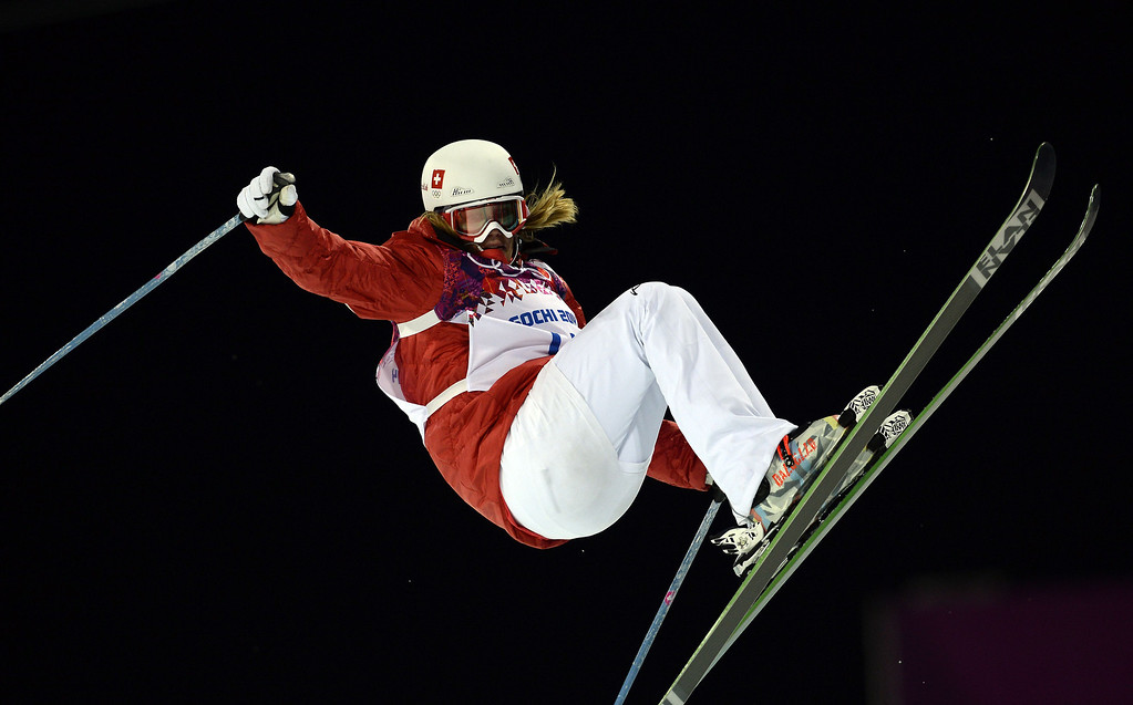 . Switzerland\'s Mirjam Jaeger competes in the Women\'s Freestyle Skiing Halfpipe finals at the Rosa Khutor Extreme Park during the Sochi Winter Olympics on February 20, 2014.      AFP PHOTO / FRANCK FIFE/AFP/Getty Images