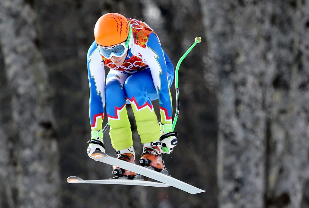 . Ilka Stuhec of Slovenia in action during the Downhill portion of the Women\'s Super Combined race at the Rosa Khutor Alpine Center during the Sochi 2014 Olympic Games, Krasnaya Polyana, Russia, 10 February 2014.  EPA/KARL-JOSEF HILDENBRAND
