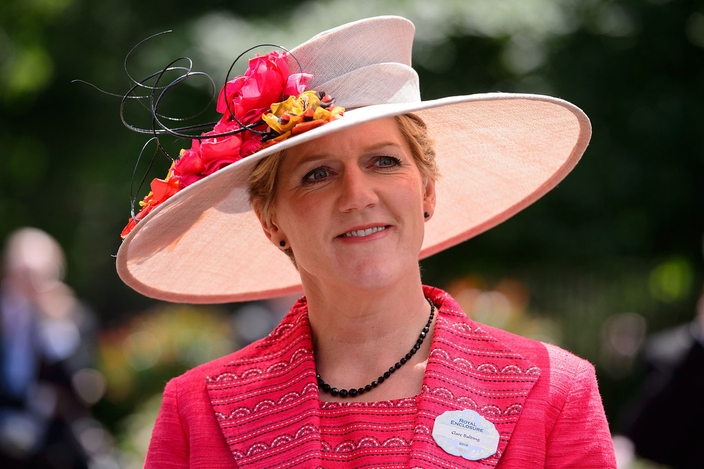 . British television presenter Claire Balding poses on the first day of Royal Ascot, in Berkshire, west of London, on June 17, 2014.   AFP PHOTO / LEON NEAL/AFP/Getty Images