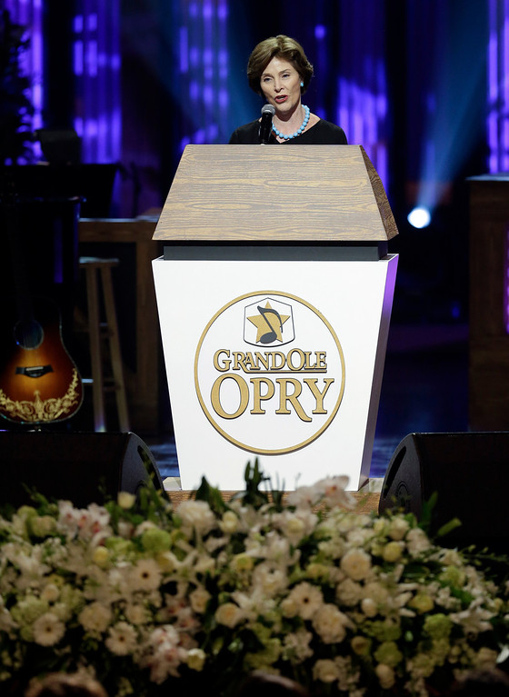 . Former first lady Laura Bush speaks during the funeral for country music star George Jones in the Grand Ole Opry House on Thursday, May 2, 2013, in Nashville, Tenn.   (AP Photo/Mark Humphrey, Pool)