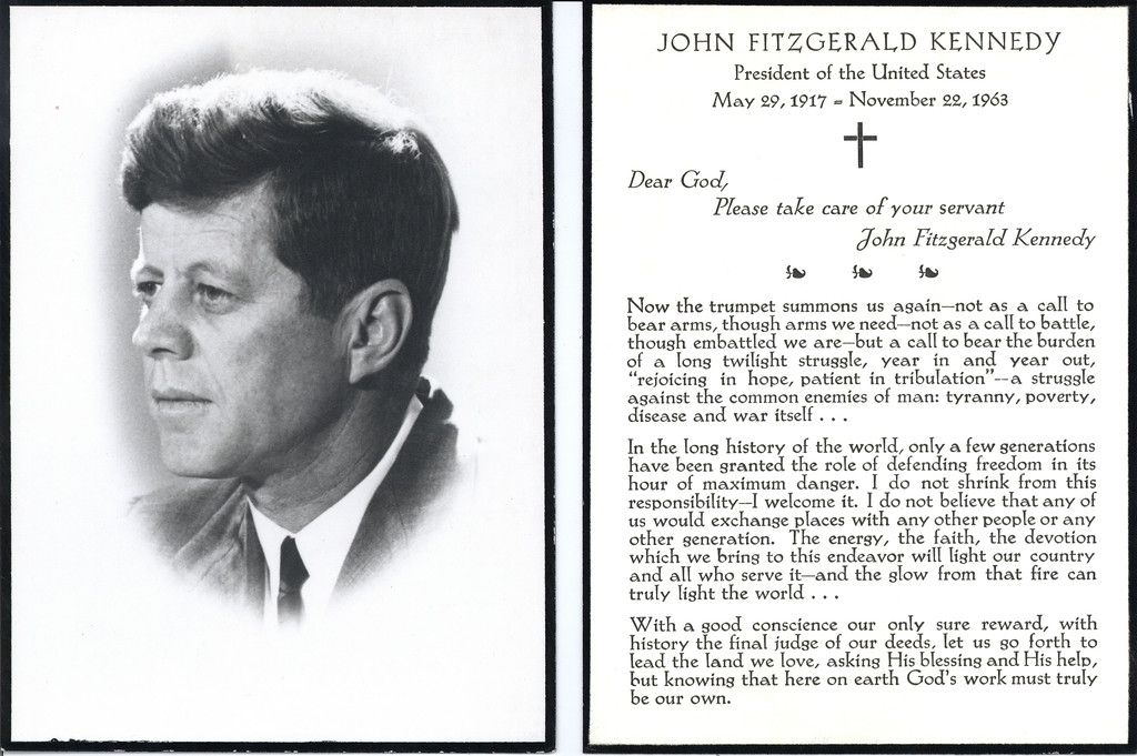 . Kennedy\'s funeral services card from White House staff files.