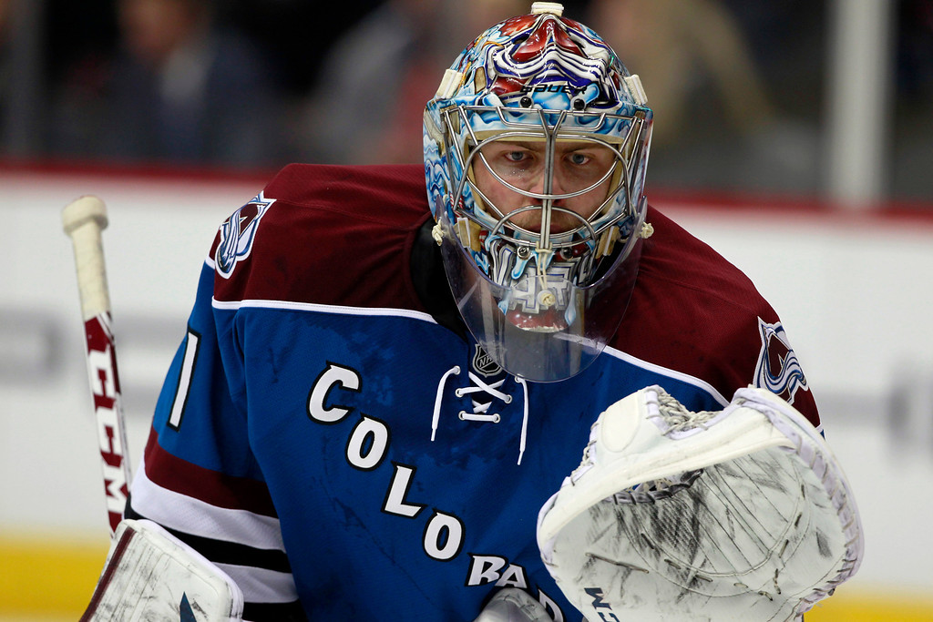 . Colorado Avalanche goalie Semyon Varlamov, of Russia, defends the net against the Buffalo Sabres in the third period of the Avalanche\'s 7-1 victory in an NHL hockey game in Denver, Saturday, Feb. 1, 2014. (AP Photo/David Zalubowski)
