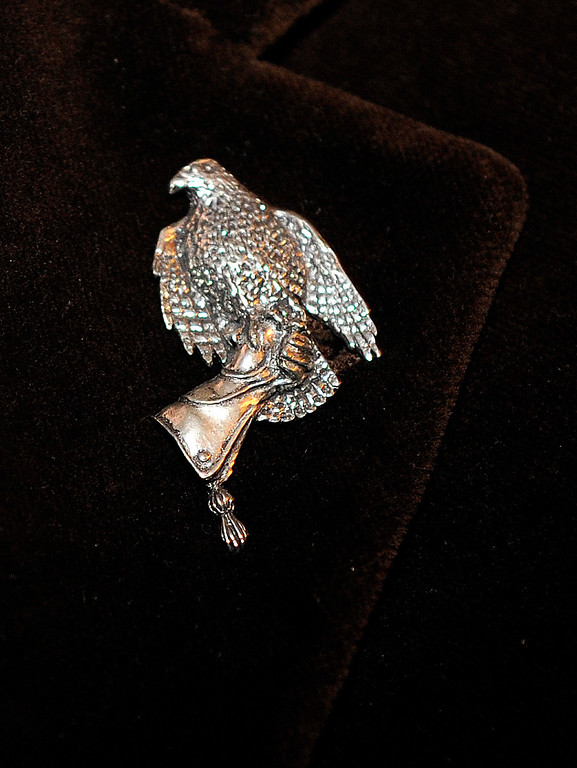 . Matthew Keeney wore a falconers pin on his lapel. The Rocky Mountain PBS Masterpiece Costume Ball attracted more than 200 fans of the Downton Abbey television drama Saturday night, January 4, 2014 at the Grant Humphreys Mansion. The show\'s new season starts Sunday night. The event also included a silent auction, historical displays, and a costume contest. Photo By Karl Gehring/The Denver Post