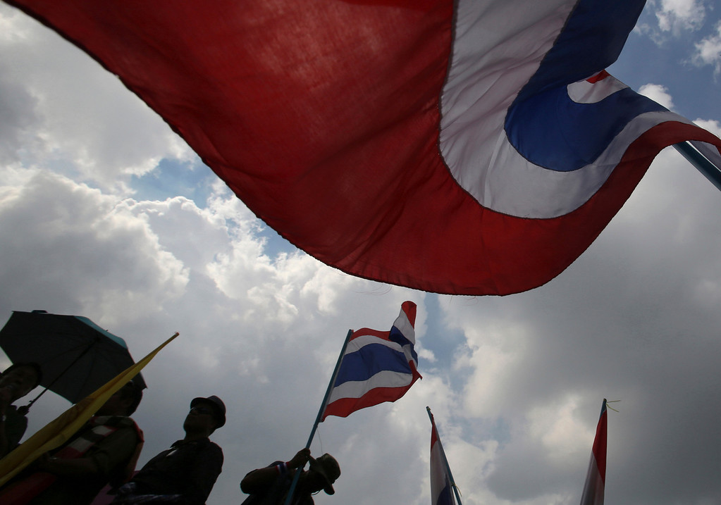 . Anti-government protesters gather outside the Interior Ministry in Bangkok, Thailand, Tuesday, Nov. 26, 2013. (AP Photo/Sakchai Lalit)