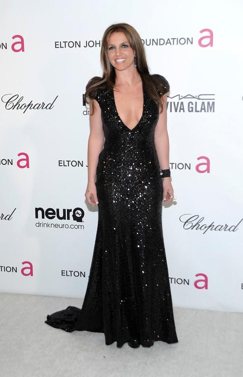 . Singer Britney Spears arrives at the 2013 Elton John Oscar Party in West Hollywood, Calif. on Sunday, Feb. 24, 2013. (Dan Steinberg/Invision/AP)