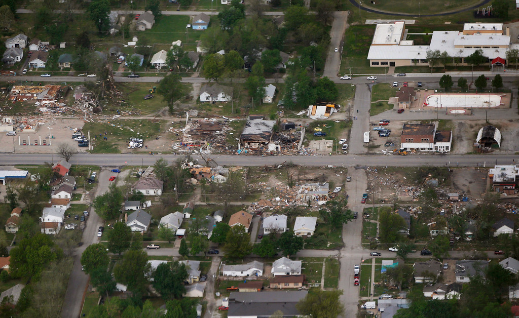 . A tornado\'s path is seen in an aerial photo made over Baxter Springs, Kan., Monday, April 28, 2014. (AP Photo/Orlin Wagner)